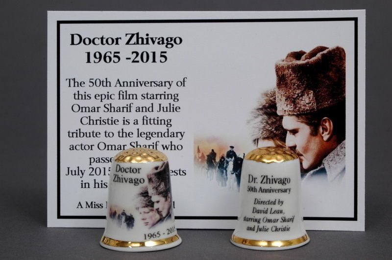 Doctor Zhivago 1965-2015 Epic Film Gold Topped China Thimble+Film Card B/141