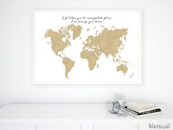 Custom quote size and color PRINTABLE world map gold glitter map