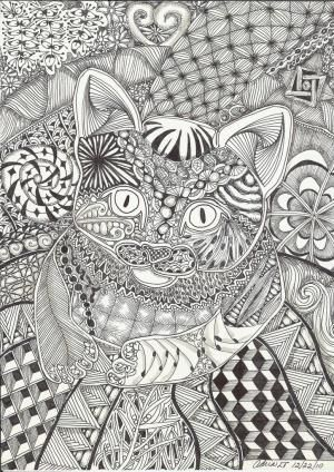 kitten on a mat abstract doodle zentangle paisley coloring