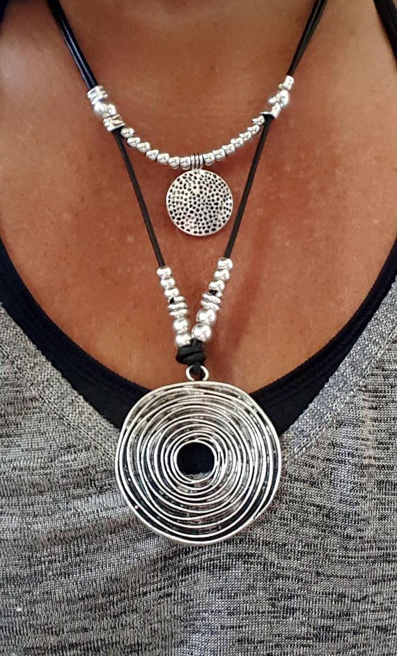 double Statement leather necklace Statement spiral pendant