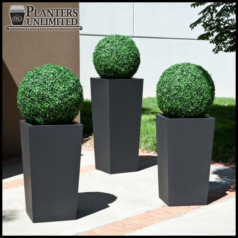 Contemporary Artificial Topiaries In Modern Black Planters