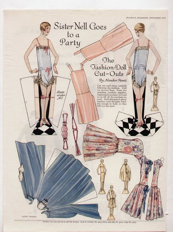 FASHION DOLL CUTOUTS by Nandor Honti SISTER NELL Goes to a Party | McCall's Magazine November 192