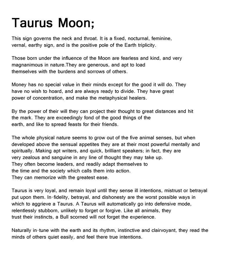 taurus moon, 1st-19th may, taurus, zodiac sign, bull