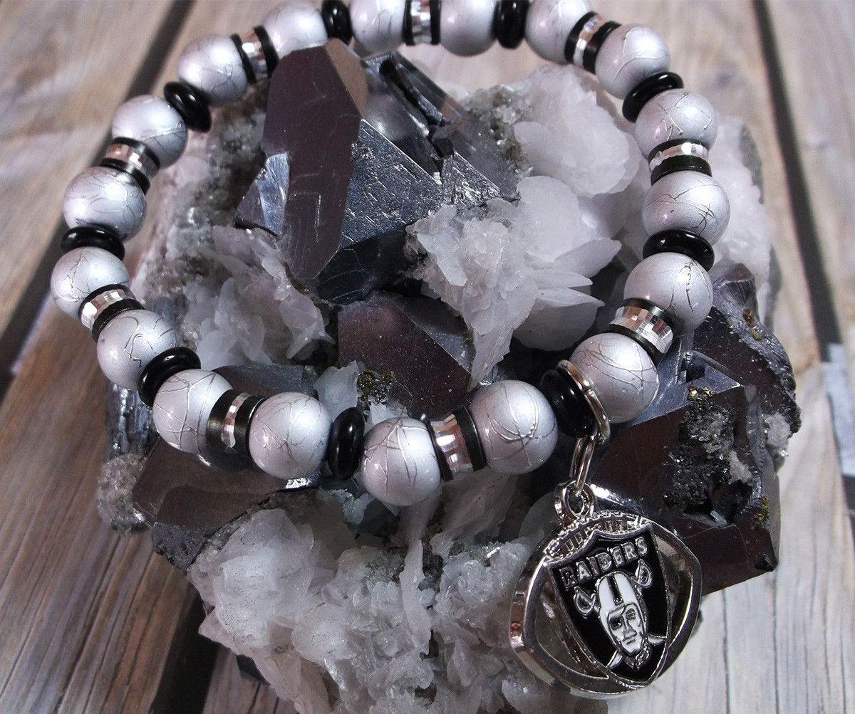 Raiders Football Charm Glass Bead Bracelet #67556