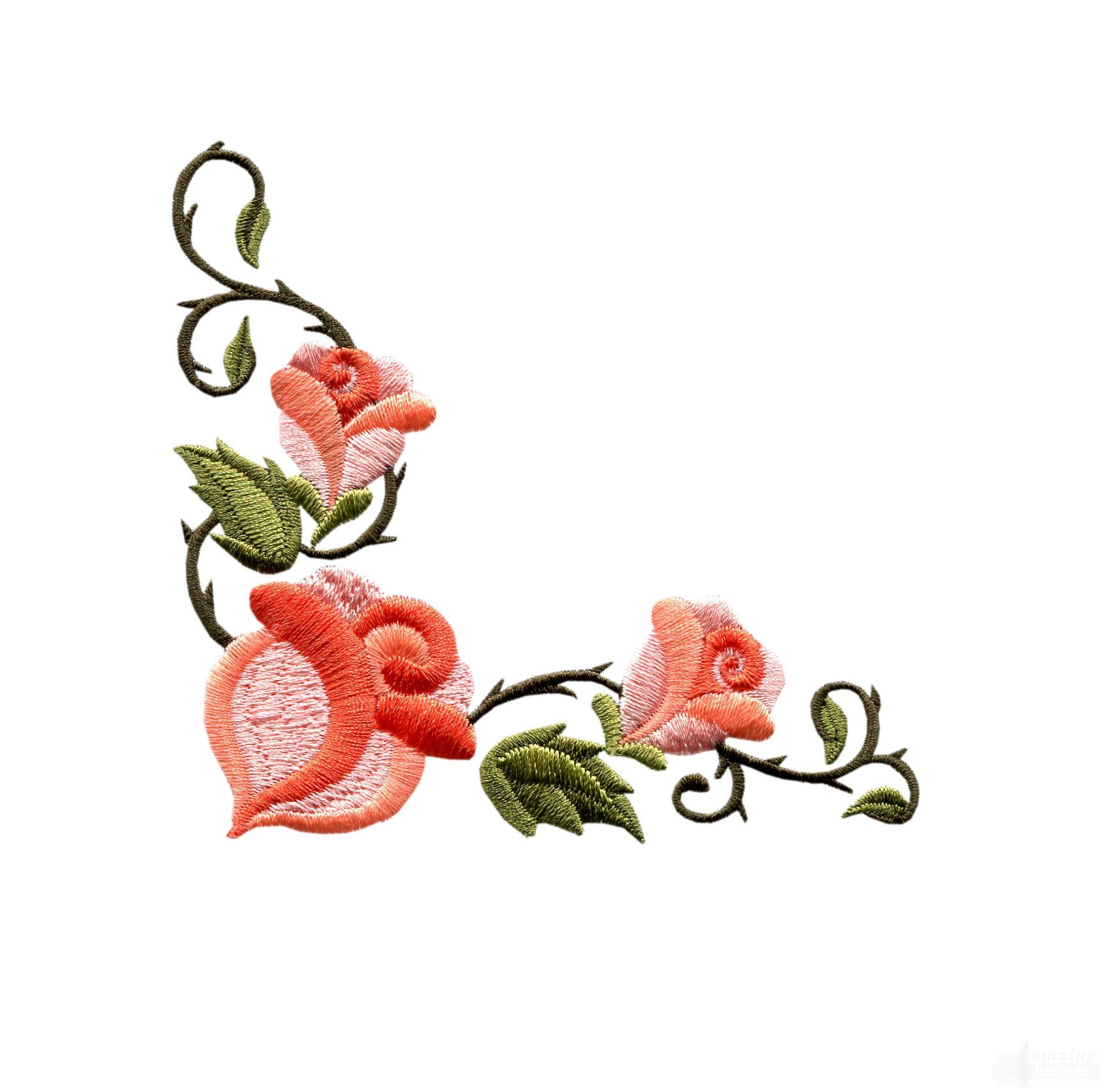 Small Flower Embroidery Designs Rose Floral Border 3 Embroidery