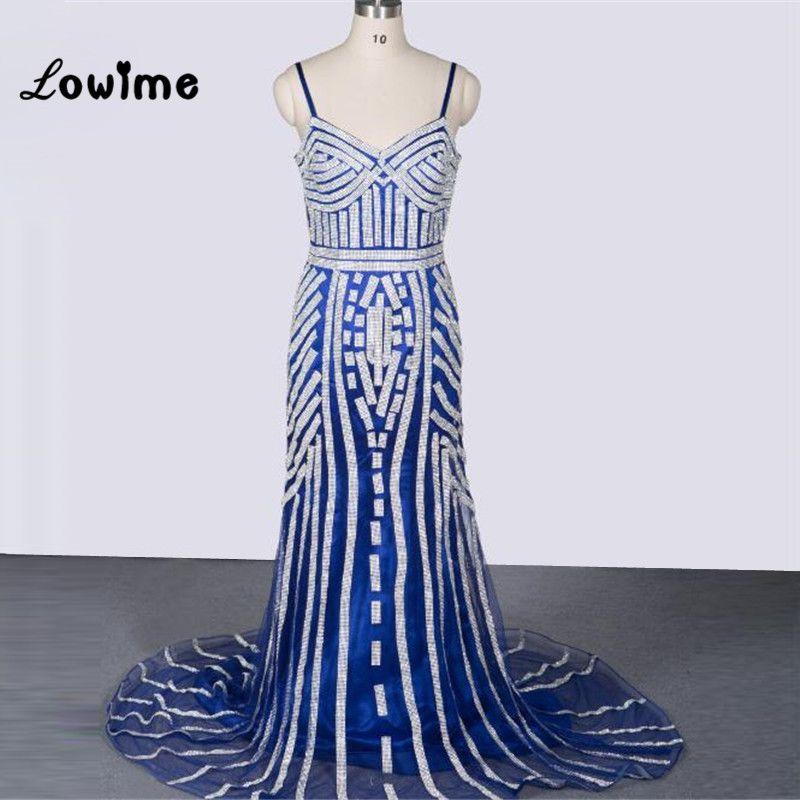 Click to Buy << Sexy Long Glitter Royal Blue Mermaid Prom Dress ...
