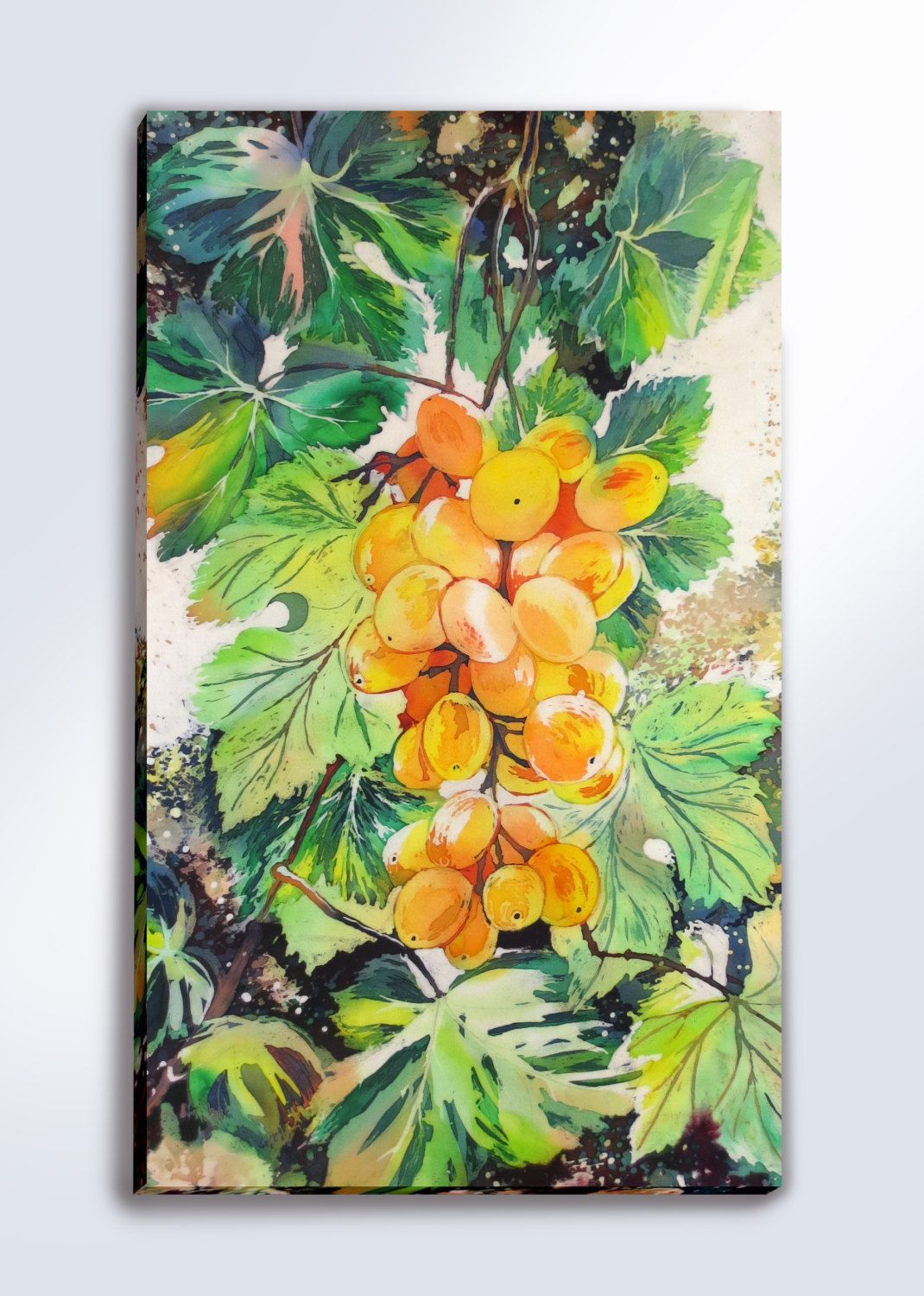 Grape handpainted silk painting yellow grape batik wall hanging silk ...