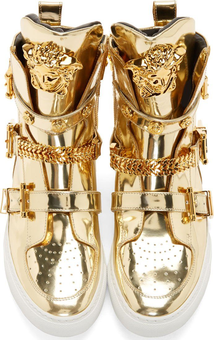925f286ecc9c Versace Gold High-Top Studded Strap Medusa Sneakers----Too over the (high) top??