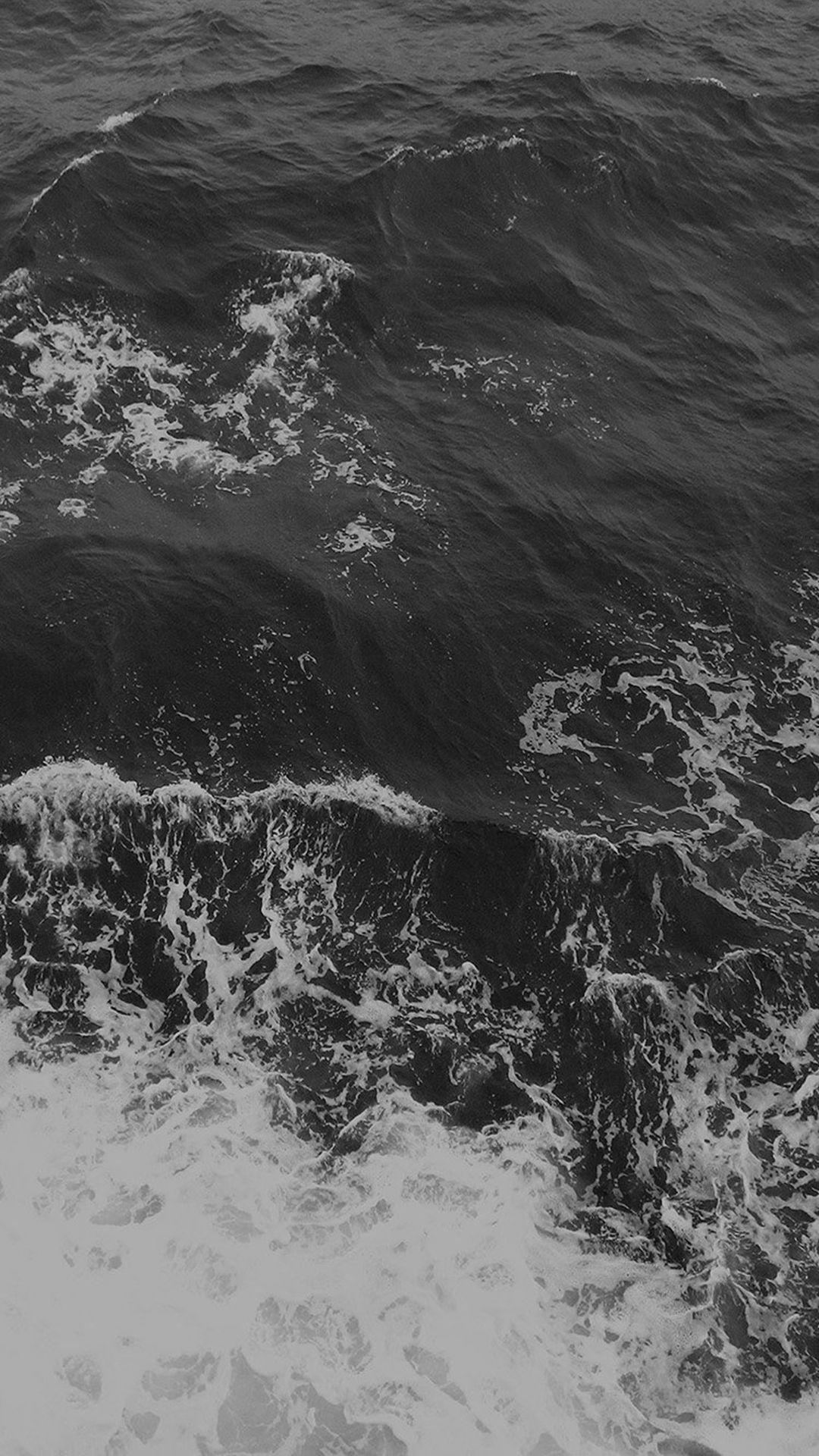 Water Sea Vacation Texture Ocean Beach Dark Bw iPhone 8