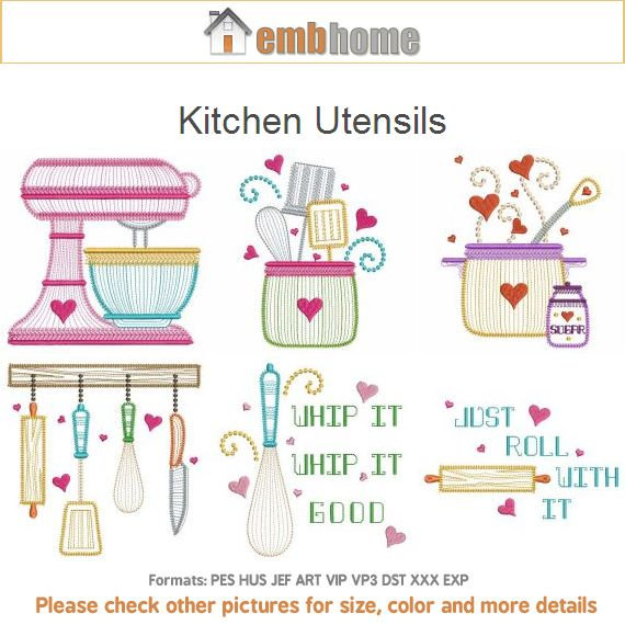 Captivating Kitchen Utensils Cooking Tools Machine Embroidery Designs Instant Download  4x4 5x5 6x6 Hoop 12 Designs APE2062
