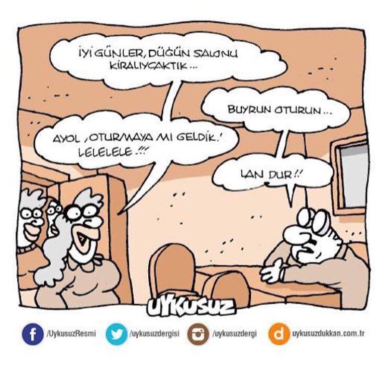 - İyi günler, düğün salonu kiralaycaktık... + Buyrun oturun... - Ayol, oturmaya mı geldik! Lelele!!! + Lan dur!! #karikatür #mizah #matrak #komik #espri #şaka #gırgır #komiksözler