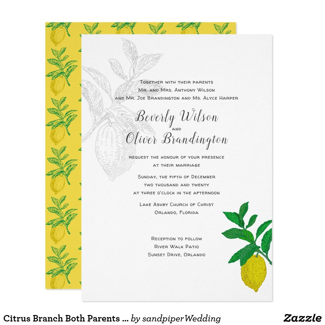 Citrus Branch Both Parents Wedding Invitation | Pinterest | Lemon ...