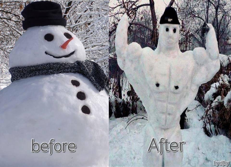 Winter Fitness Challenge --muscular snowman