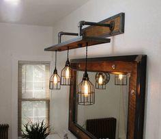 Rustic Industrial Light - Steel and Barn Wood Vani