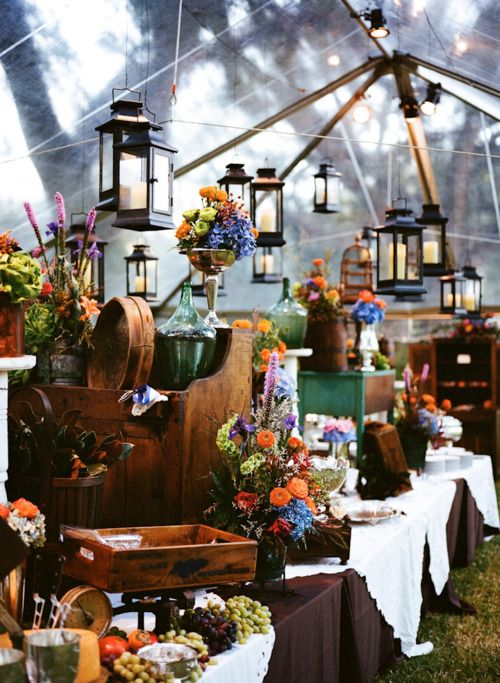 pretty flowers + lanterns!