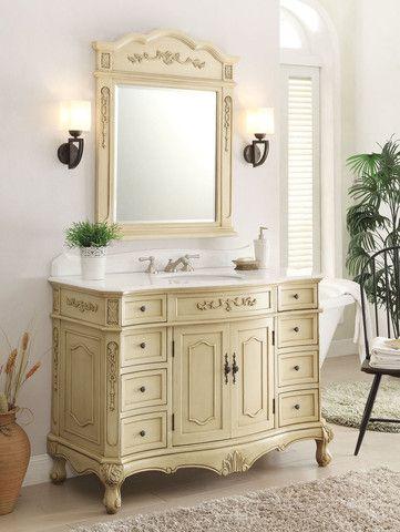 48 Classsic Style Pastel Beige Fairmont Bathroom Sink Vanity Mirror Set Bc 3905w Lt 48mir Bathroom Sink Vanity White Washed Furniture Cabinet Styles