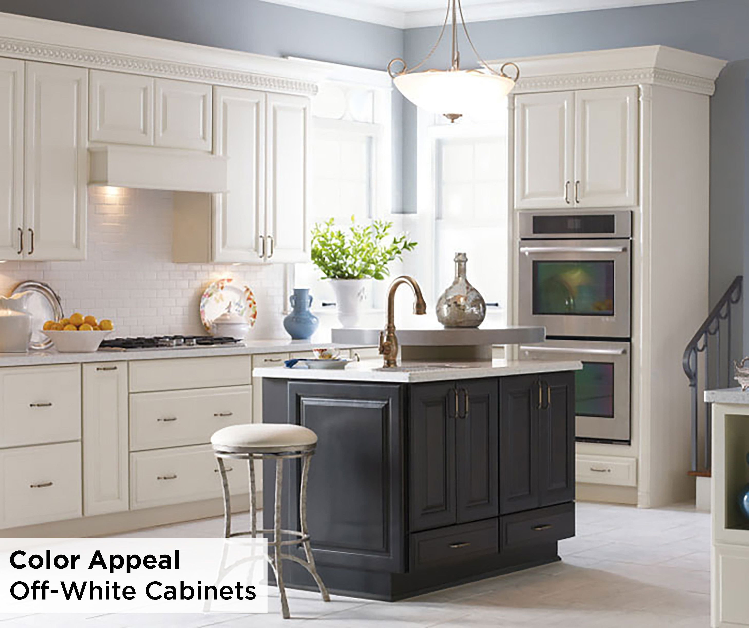 While White Kitchens May Be A Fan Favorite These Off White Diamond Maple Sullivan Cabinets W Off White Kitchens Grey Kitchen Island Off White Kitchen Cabinets
