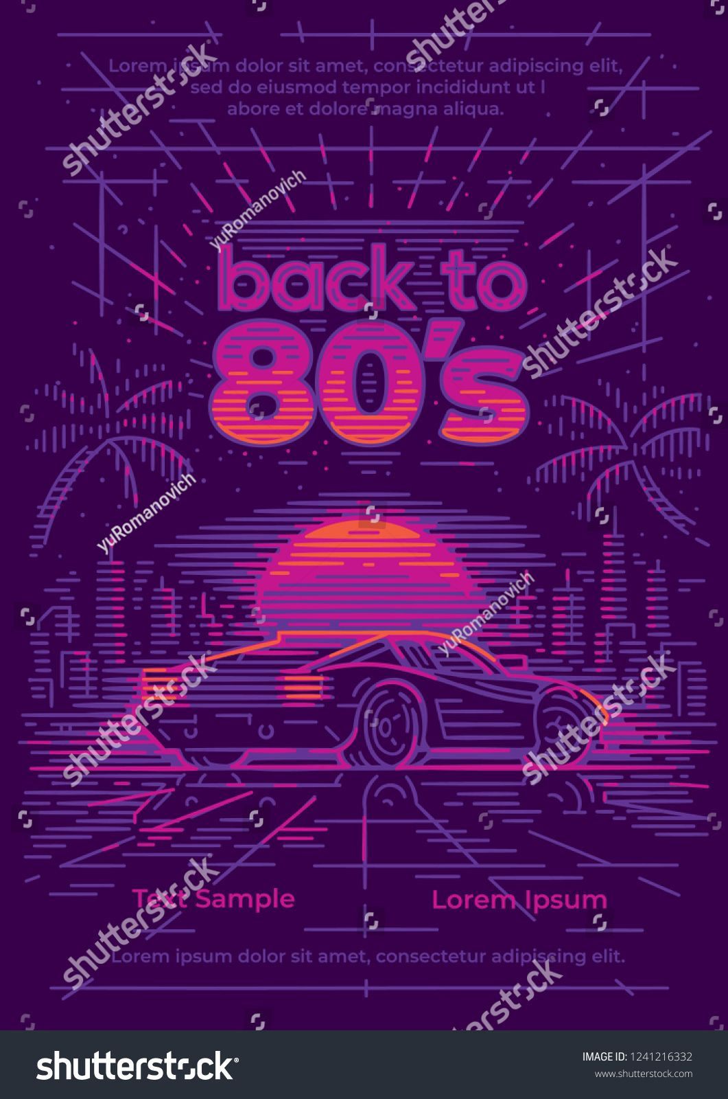 Back to 80's neon style poster/card/flyer template  Neon