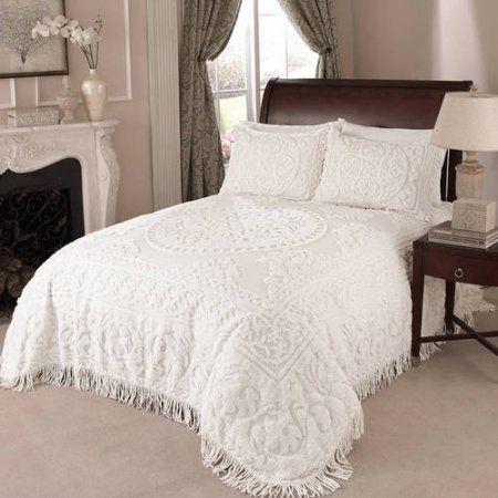 Beatrice Home Fashions Medallion Chenille Bedspread Queen White
