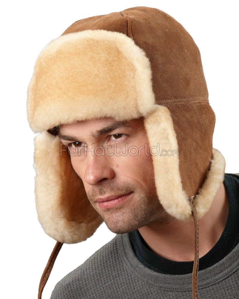 Alaska Shearling Sheepskin Trapper Hat in Tan  FurHatWorld.com bfee06f3495c
