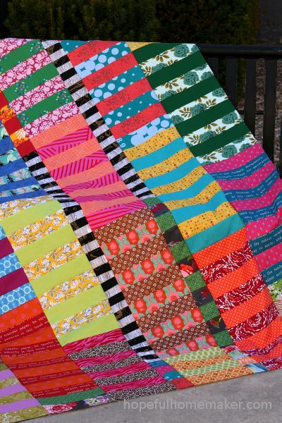 Color Stack Quilt Tutorial - A Jelly Roll Quilt Pattern - Hopeful Homemaker