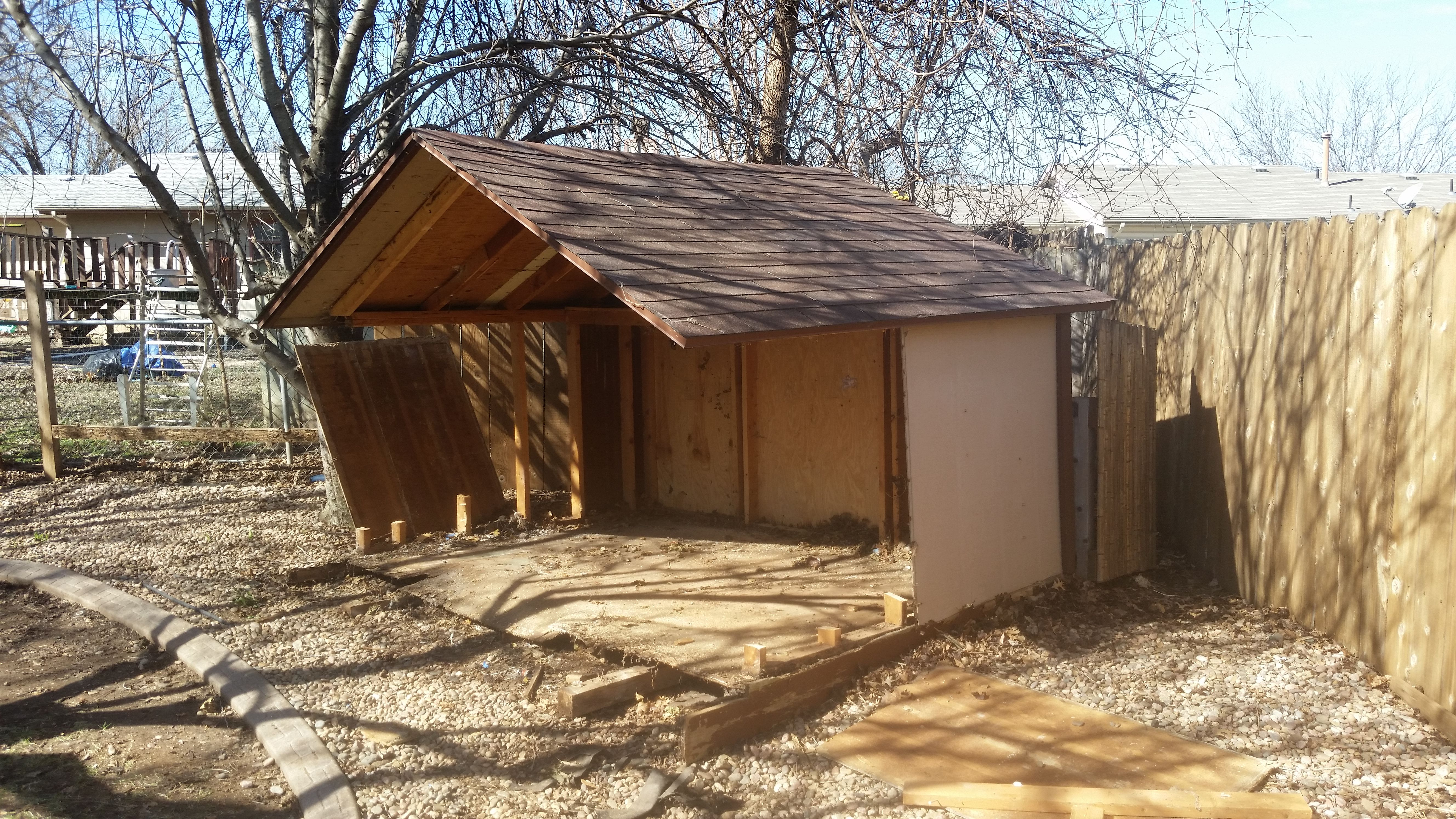 Doing a shed demo today call us today for your free quote