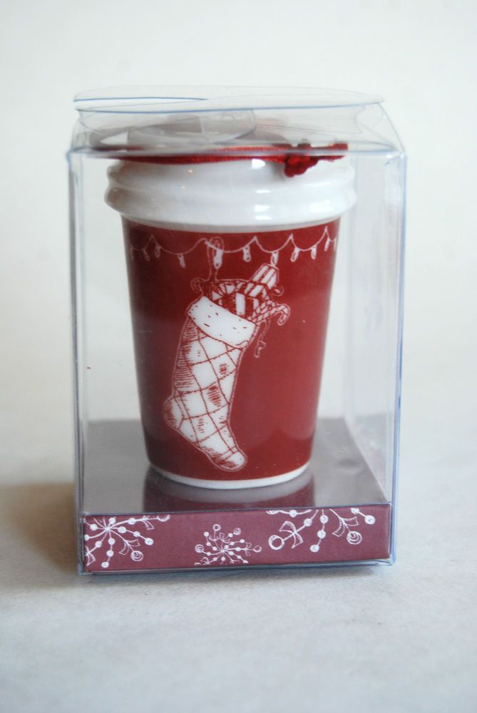 Starbucks 2005 It Only Happens Once Red Cup Christmas Ornament, New in Box #Starbucks