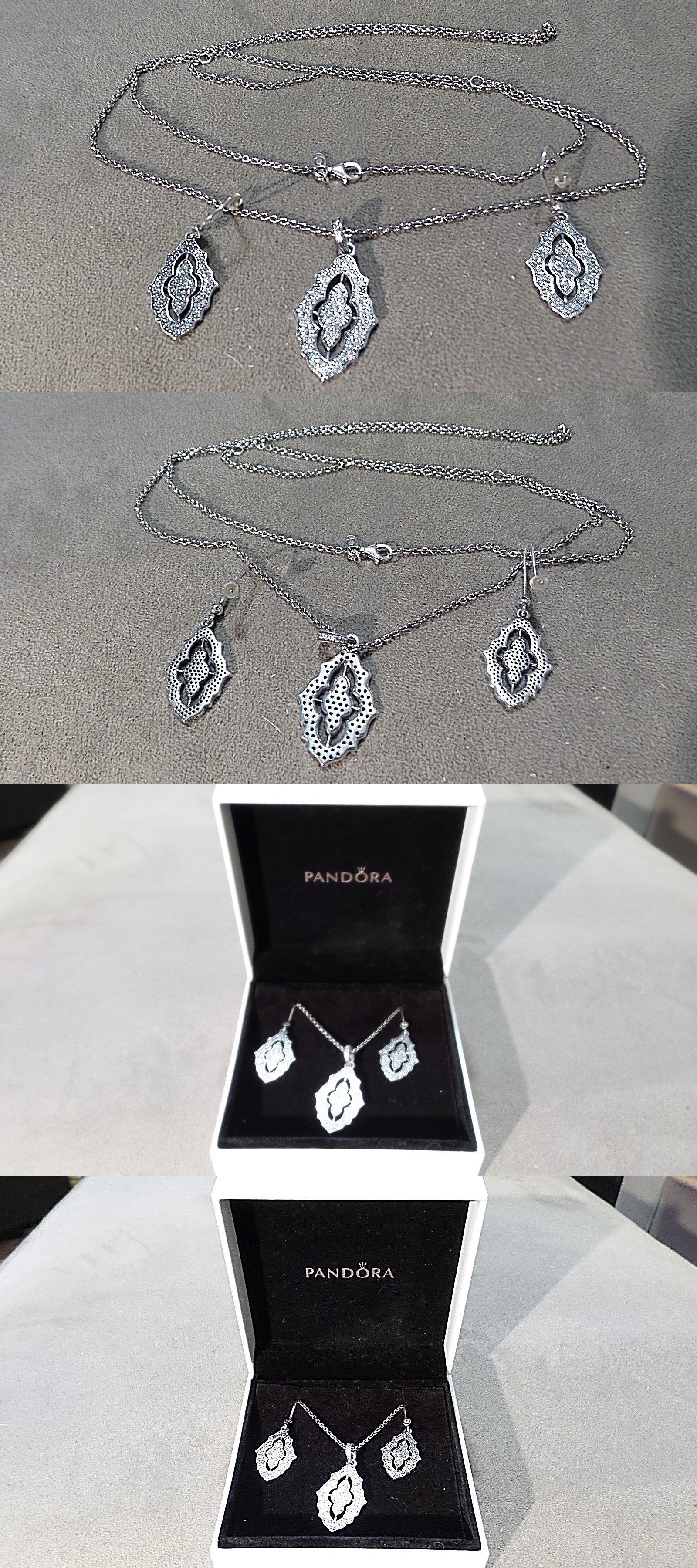 9307bd338 Fine Jewelry Sets 164324: Nib Authentic Pandora Classic Sparkling Lace Necklace  Earring Set-Clear Zirconia -> BUY IT NOW ONLY: $149.99 on eBay!