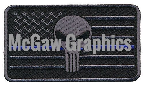 Patch Squad Men's Tactical USA Flag Bleeding Punisher Blue Lives Matter Blue Line Patch