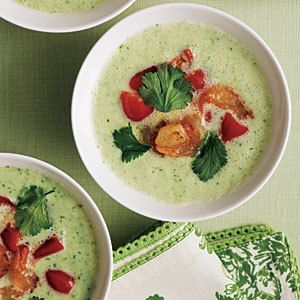 Cucumber Gazpacho with Shrimp Relish (minus the shrimp for me - SutotaDakota)