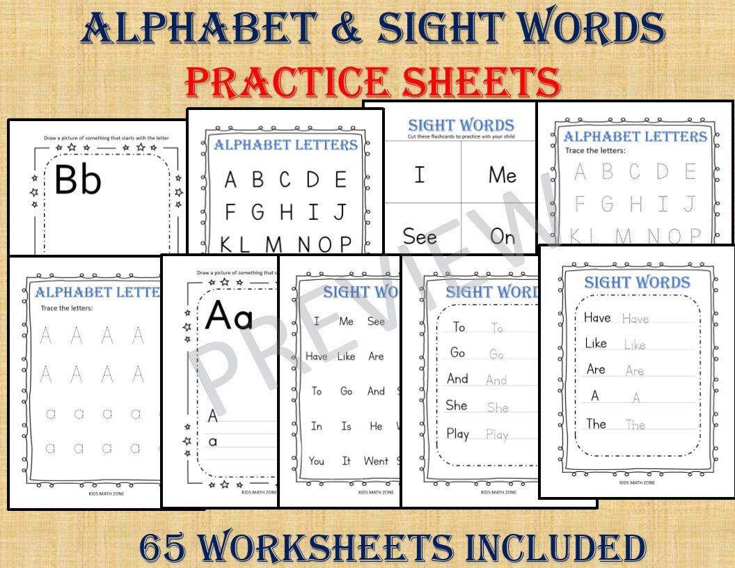 Alphabet Letters Amp Sight Words Practice 65 Worksheets