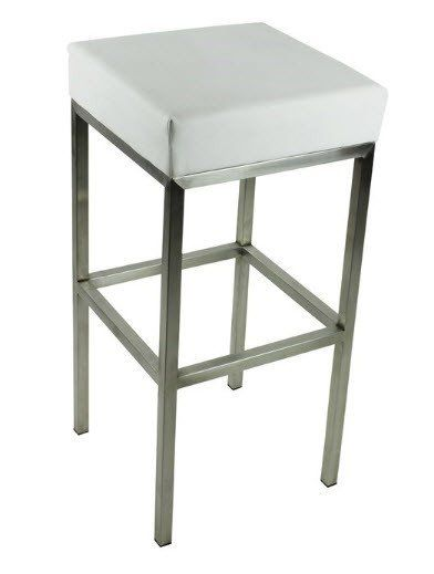Evelina Modern Stainless Steel Bar Stool In White Stainless