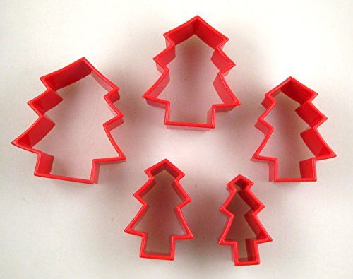 HomeX Christmas Tree Cookie Cutters Set of 5 Red ** You can get more