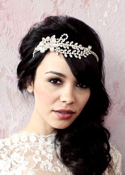 Side part down hairstyle with Swarovski headband wedding ... - photo #18