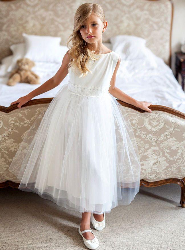 Neu Sly Elegantes Madchen Kleid Hochzeit Kommunion Jugendweihe Blumen Tull Weiss Kommunionkleider Madchen Kleid Madchen Hochzeit Kinder Kleider Hochzeit