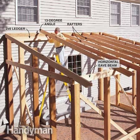 How to build a screened in patio the family handyman for Cost of building a roof