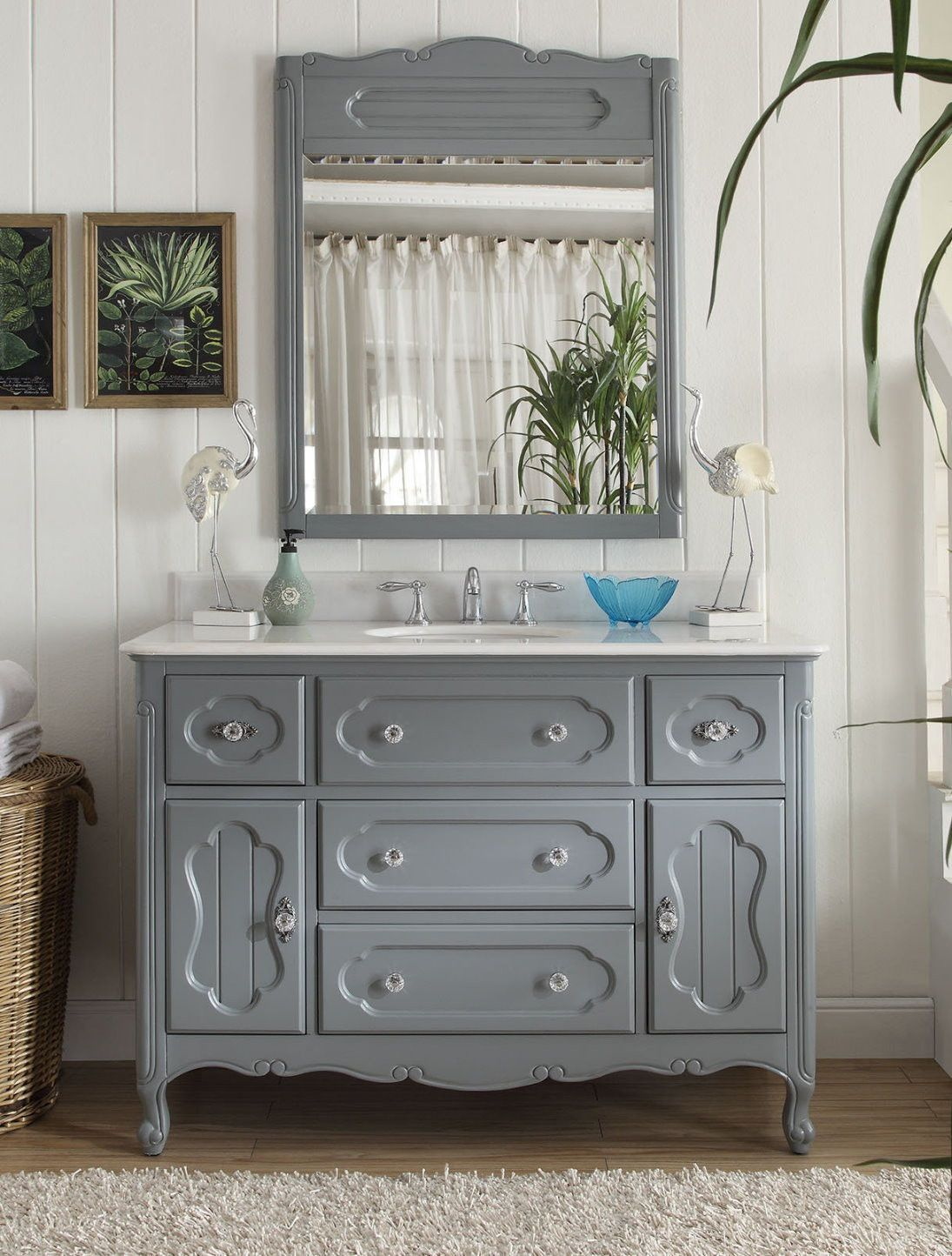 48 Benton Collection Victorian Cottage Style Knoxville Bathroom Vanity With Mirror Gd 1522ck Mir Chic Bathrooms Bathroom Sink Vanity Vanity Sink