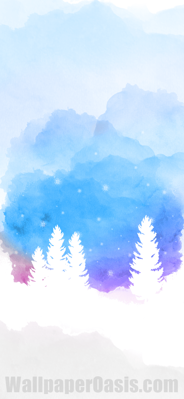 Free watercolor winter iPhone wallpaper. This design is