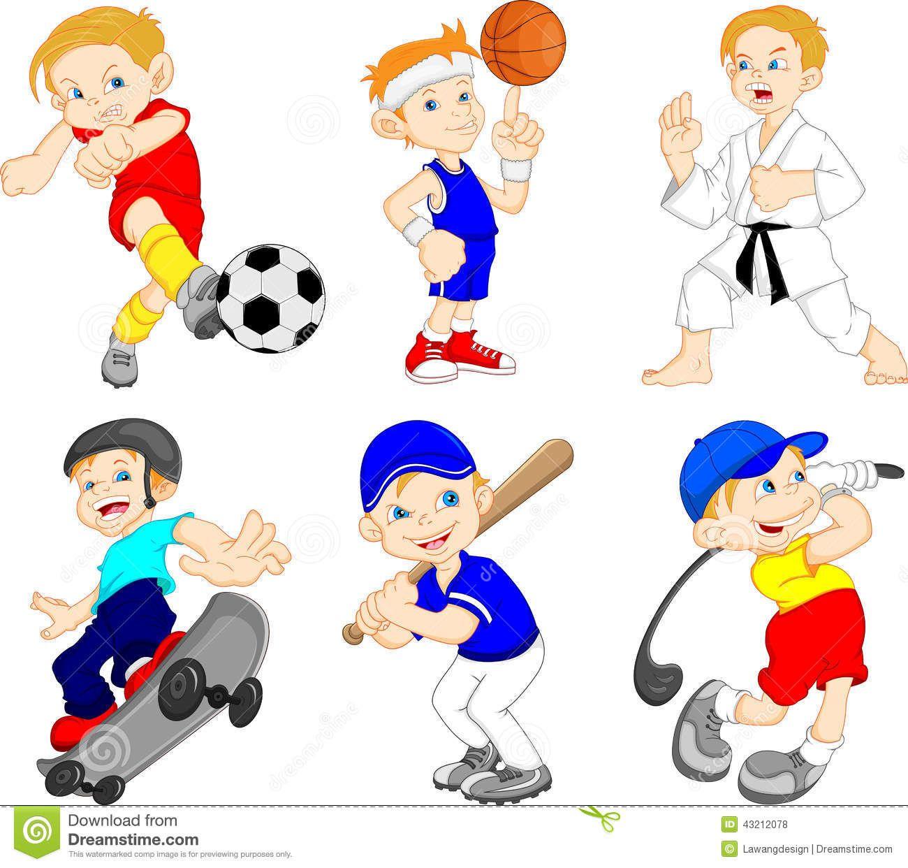 Personaje De Dibujos Animados Divertido Del Muchacho Que Hace Deporte Ilustracion Del Dibujos Animados Divertidos Dibujos Animados Personajes Deportes Animados
