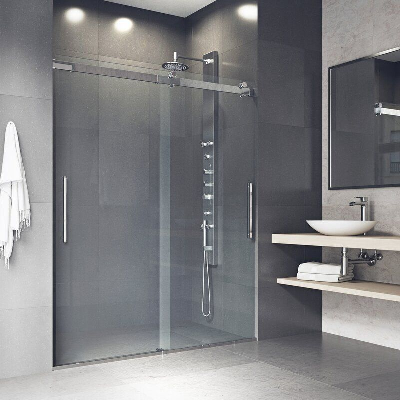Caspian 59 W X 73 5 H Double Sliding Frameless Shower Door 1000 In 2020 Sliding Shower Door Shower Doors Brushed Nickel Shower Door