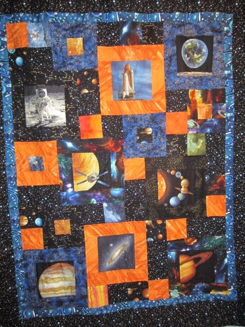 Space quilts x2 masterpieces for my little misters for Space quilt pattern