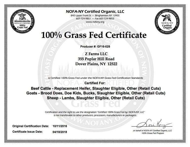 Z Farms Grass Fed Certificate Dover plains, Beef cattle