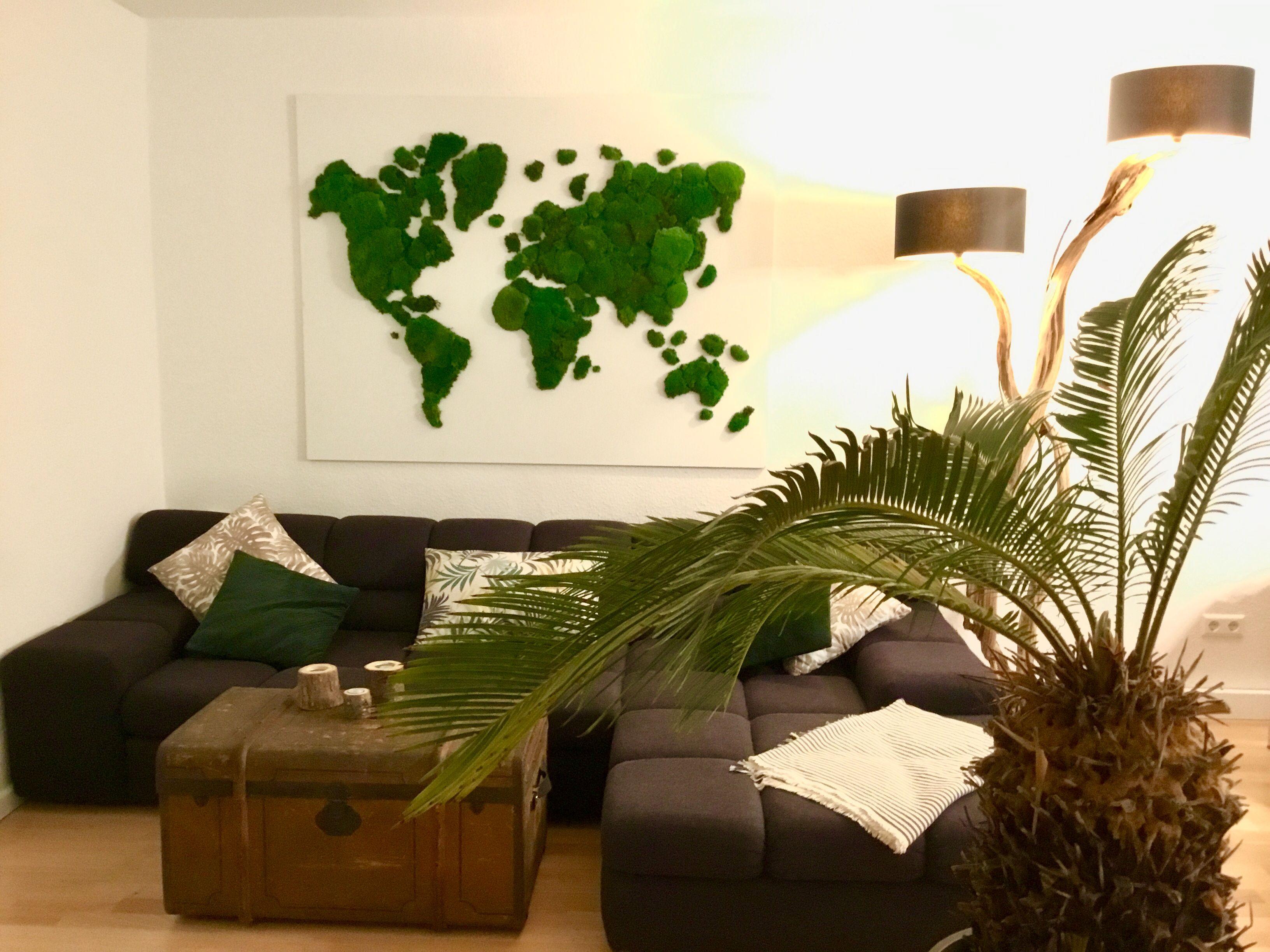Weltkarte aus Hügelmoos, individuelle Raumeinrichtung   Mooswände ...