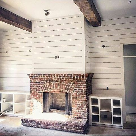 Image Result For Shiplap Fireplace Rustic Farmhouse Fireplace Brick Fireplace Makeover Farmhouse Fireplace
