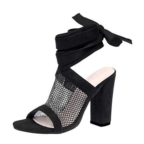 Tomwell Sandales Femme Talons Hauts Poissons Bouche Su/ède Sandale Chaussures Open Toe Transparent Sandales /à Lacets Soir Chaussures