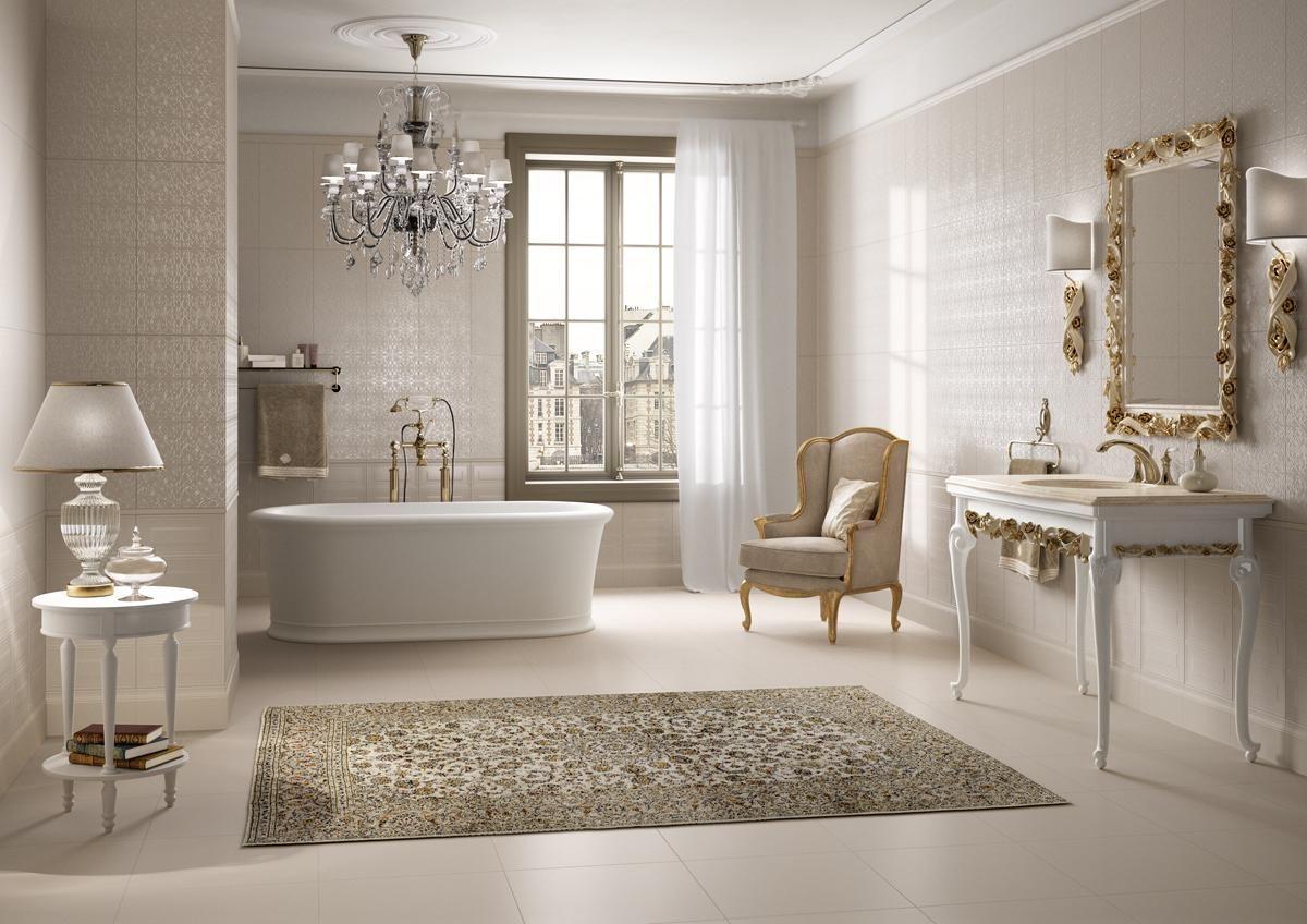 PIASTRELLE ANTHEA, bagno classico ceramica bicottura #ImolaCeramica http://www.imolaceramica.com ...