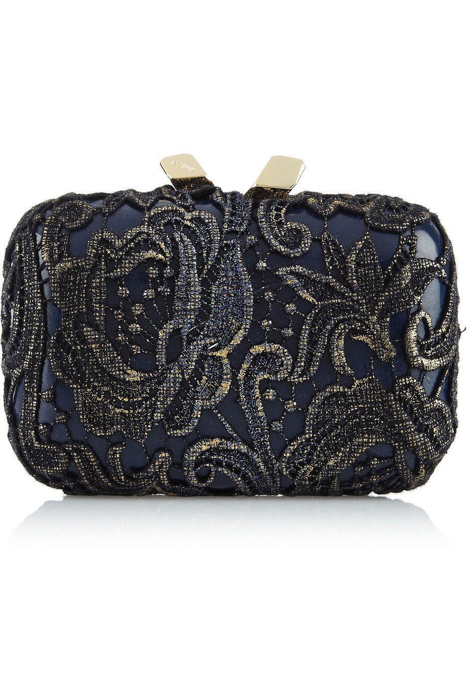 Kotur lace-covered patent box clutch