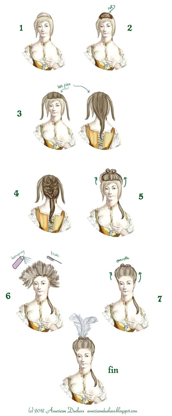 American Duchess V54 How To Create A Simple 18th Century Pouf Historical Hairstyles 18th Century Costume 18th Century Wigs