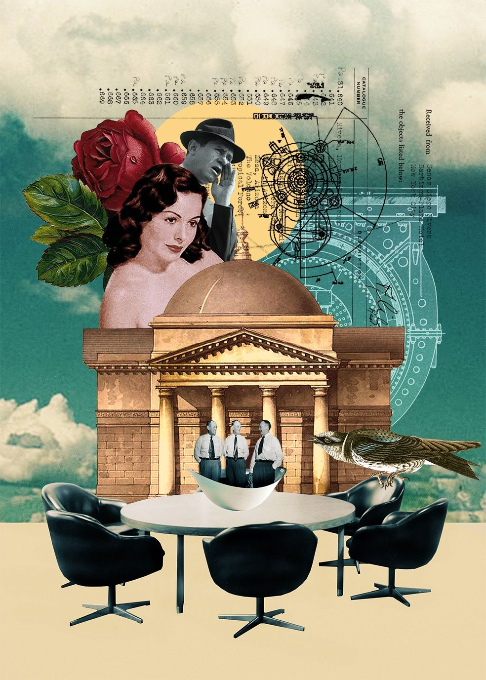 Bizarre collage art inspired by surrealism the pop art