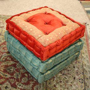 Indian Silk, Sari & Velvet Tall Pinch Cushions & Pillows - Tara Home